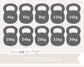 Kettlebell Clipart; Fitness, Gym, Exercise