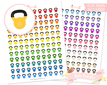 photograph regarding Printable Kettlebell Workout titled Kettlebell Printable Planner Stickers