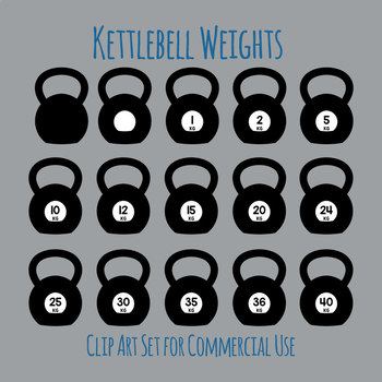 Kettlebell Weights for Strength Training (Kilograms) Clip Art Set Commercial Use