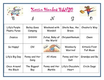 Kevin Henkes Author Study BINGO BOARD