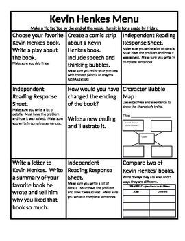 Kevin Henkes Menu and Reading Response Sheets