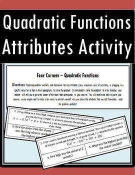 Key Attributes of Quadratic Functions - Four Corners Activity