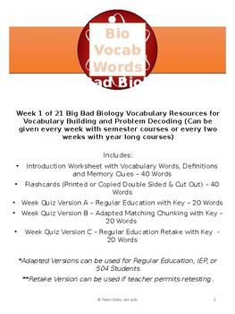 Key Biology Vocabulary Week 1