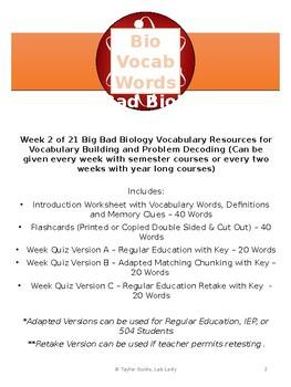 Key Biology Vocabulary Week 2
