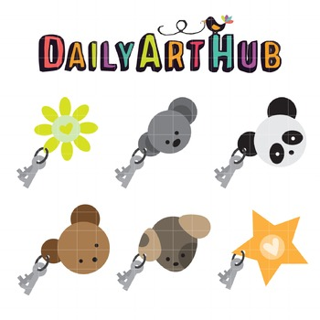 Key Chains Clip Art - Great for Art Class Projects!