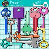 Key Clip Art {Rainbow Glitter Graphics for Growth Mindset and Keyword Use} 1
