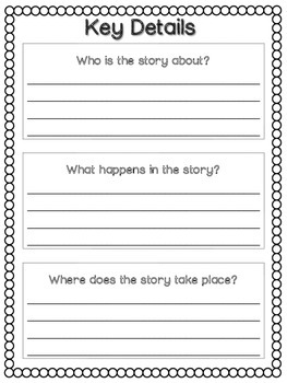 Key Details Graphic Organizers: Fiction and Non-Fiction