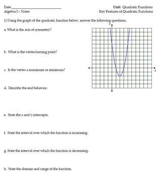 Key Features of Quadratic Functions - Notes and Homework
