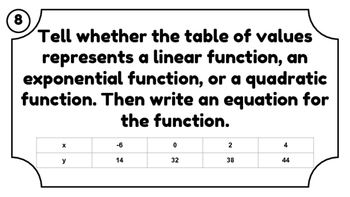 Key Features of Quadratic Functions Task Cards