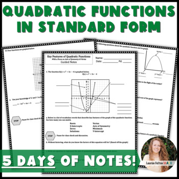Key Features of Quadratic Functions in Standard Form Guided Notes & Practice!