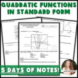 Key Features of Quadratic Functions in Standard Form Notes & Practice!
