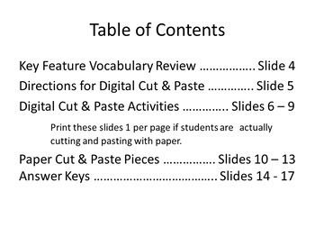 Key Features of a Quadratic: Digital Cut and Paste