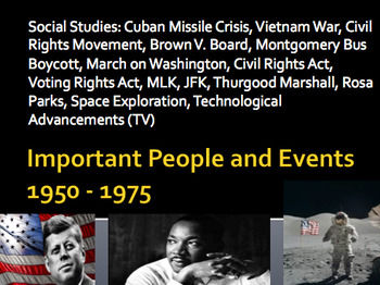 Key Figures/Events 1950-1975 MLK Parks Vietnam JFK TV Civil Rights Unit & Quiz