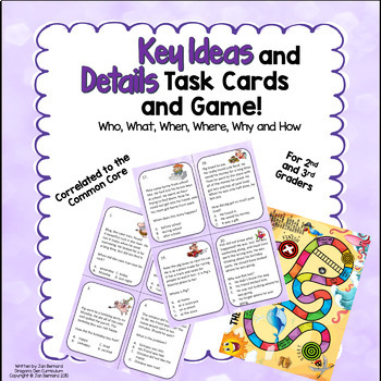 Key Ideas And Details Task Cards and Game