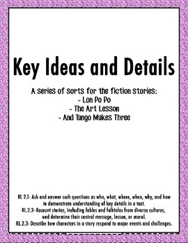 Key Ideas and Detail Sort for And Tango Makes Three