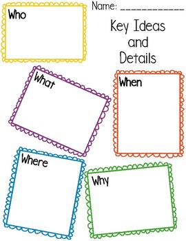 Key Ideas and Details - Graphic Organizer
