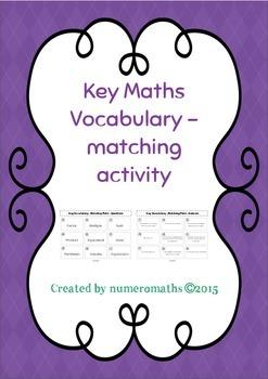 Key Math Vocabulary - Matching Activity