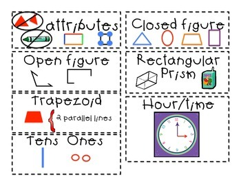 **Key Math Vocabulary for Word Walls** with great pictures