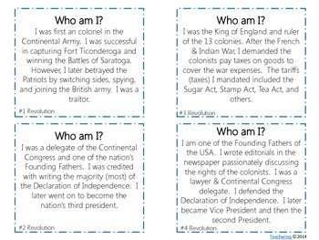 Key People of the American Revolution Task Cards {with PHOTOS}