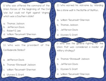 Key People of the Civil War Task Cards