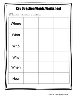 Key Question Words Worksheet