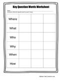 Key Question Words Worksheet
