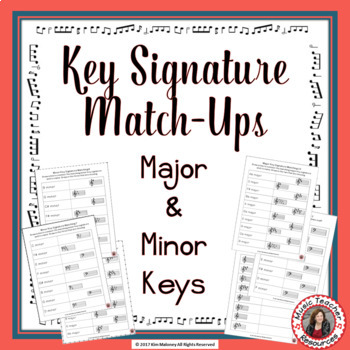 Key Signatures Worksheets: Match Up Music Game