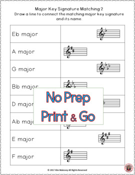 Key Signatures Worksheets: Match Up Music Game by MusicTeacherResources