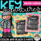 Key Signature Posters for Music Class {Chalkboard, Chevron, Cork}