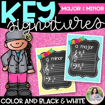 Key Signature Posters & Giant Flash Cards {Chalkboard & Vi