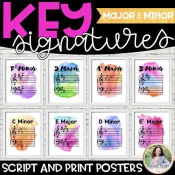 Key Signature Posters: Majors & Minors {Watercolor Music Decor}