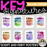 Key Signature Posters: Majors & Minors {Watercolor Music Decor}