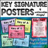 "Music Bulletin Board ""Key Signature"" Music Decor & Flashcards Set"