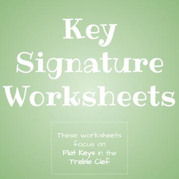 Key Signature Practice Worksheets: Flat Key Signatures