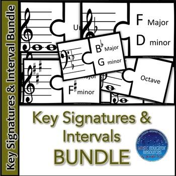 Key Signature and Intervals Puzzle BUNDLE