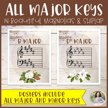 Key Signatures Posters Plus FREE Flash Cards {Magnolia Music Class Decor}
