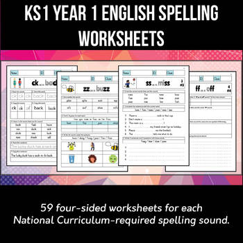 Key Stage 1 Year 1 English Spelling And Phonics Worksheets Pack Of 59