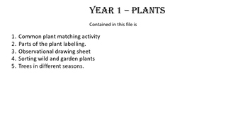 Key Stage 1 (year 1) Plants all resources.