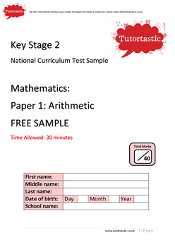 Key Stage 2 UK SATS 2016 Maths Arithmetic