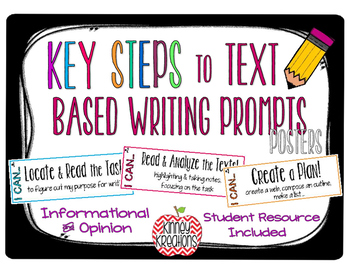 Key Steps to Text Based Writing Prompts {Posters & Student Resource}