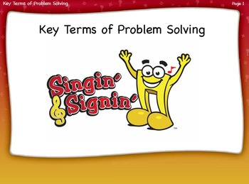 Key Terms of Problem Solving Lesson by Singin' & Signin'