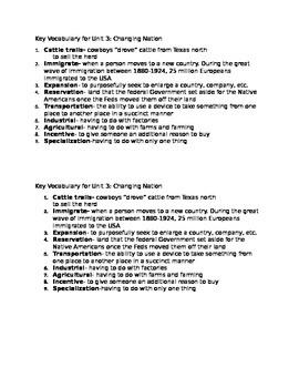 Key Vocabulary 5th grade Georgia Standards post Civil War