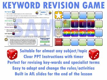 Key Word Revision Board Game Template Ppt Afl Full Revision
