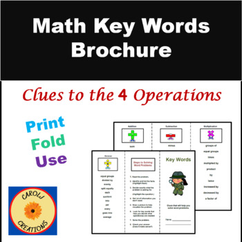 key words brochure clues to help solve math word problems by  key words brochure clues to help solve math word problems