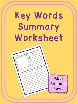 Key Words Summary Worksheet