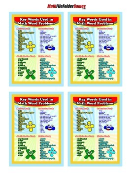 Key Words Used In Math Word Problems {Anchor Chart with Cards for Students}