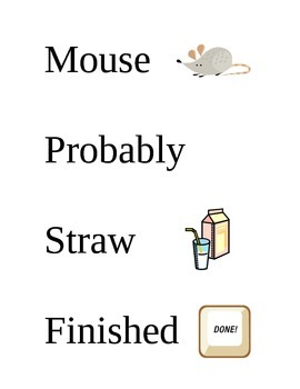 Key Words for If You Give a Mouse a Cookie