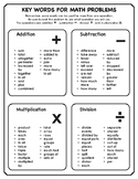 Key Words for Math Problems Worksheet