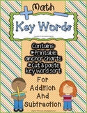 Key Words in Addition & Subtraction - Anchor Charts + Cut & Paste Word Sort