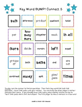 Key Words (in word problems) Connect 5 BUMP!